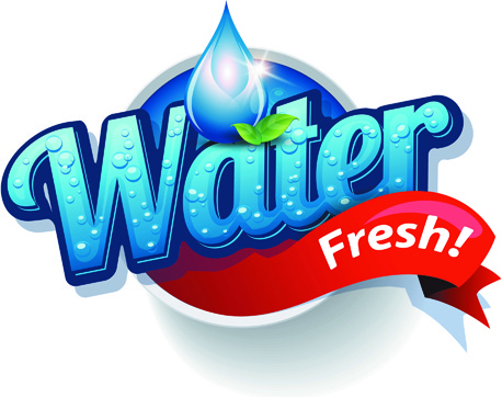 shiny fresh water labels vector