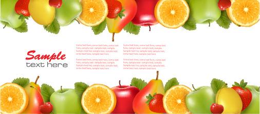 shiny fruits background vector