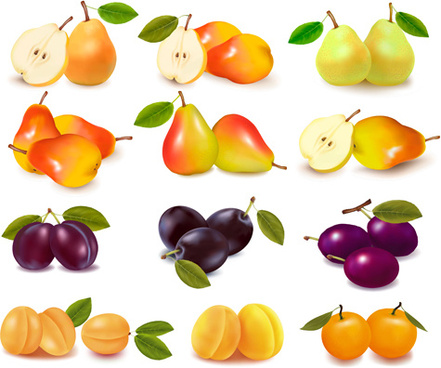 shiny fruits design vector background