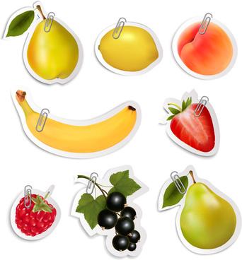 shiny fruits sticker vector set graphics