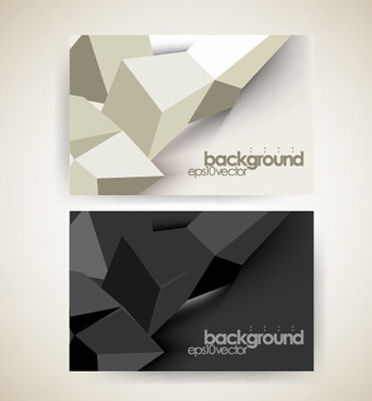shiny geometric shapes business cards vector