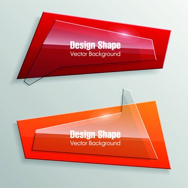 shiny glass with origami banner vector