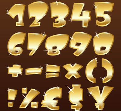 shiny gold alphabet and numeral punctuation vector