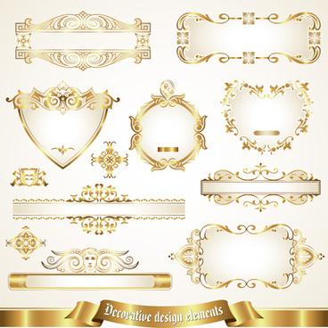 shiny gold framed labels ornament vector