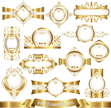 shiny gold framed labels ornament vector