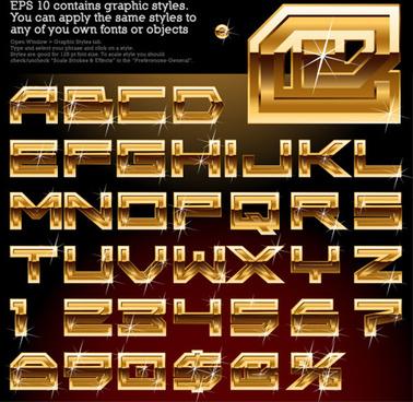 shiny golden alphabet and numeric vector