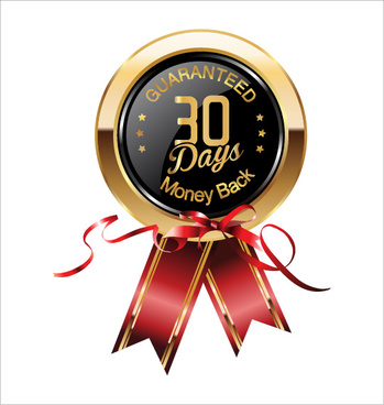 shiny golden badges with red ribbon vectors
