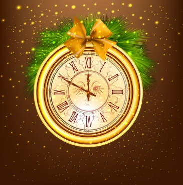 shiny golden clock icon classical design winter decoration