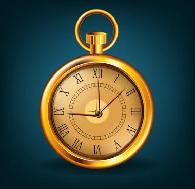 shiny golden clock icon classical portable design