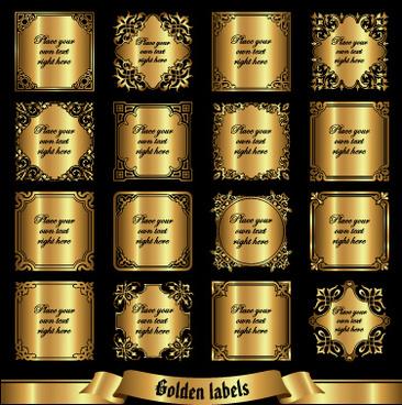 shiny golden label luxury design vector