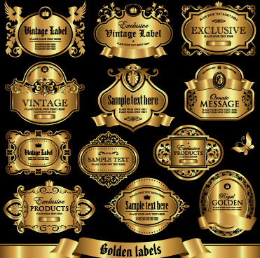 shiny golden label luxury design vector