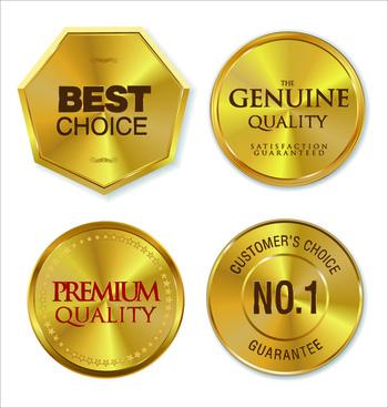 shiny golden medals vector
