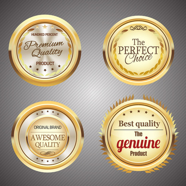 shiny golden round quality certification icons