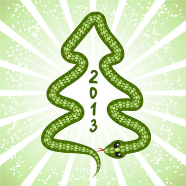 shiny green13 snake year design elements