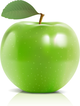 shiny green apple vector