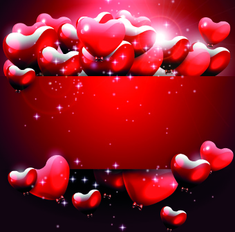 shiny heart with red background vector graphic