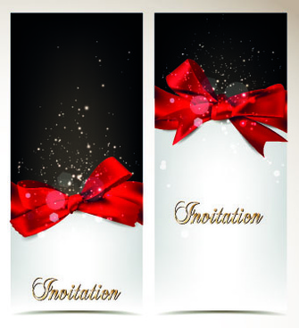 shiny holiday bow vertical banner vector