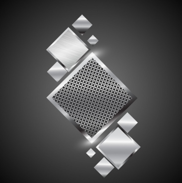 shiny metal background grey squares decoration