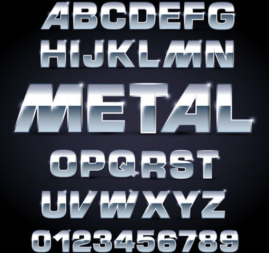 shiny metal letters and numbers vector set