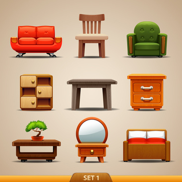 shiny modern furniture icons vector