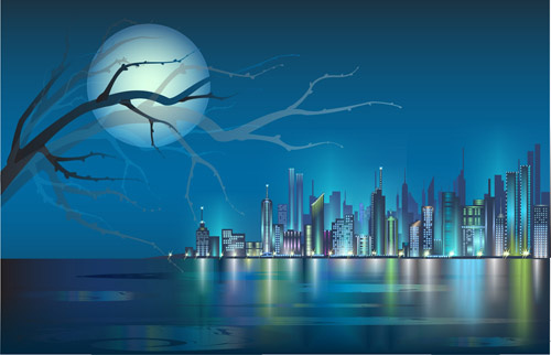 shiny night city landscape vector