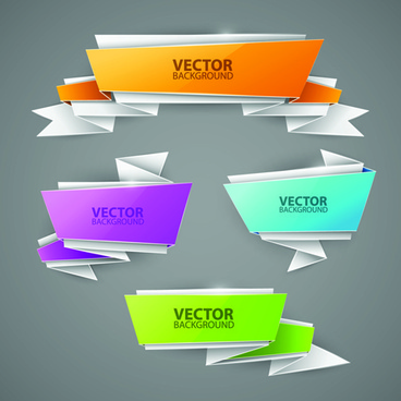 shiny origami banners vector