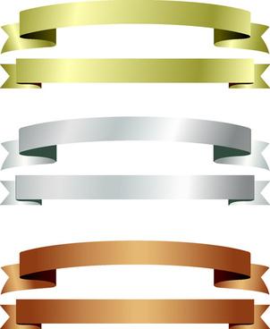 shiny paper ribbon banner vector