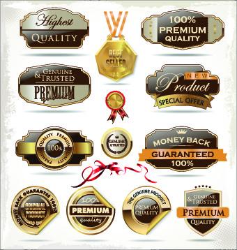 shiny premium label vector