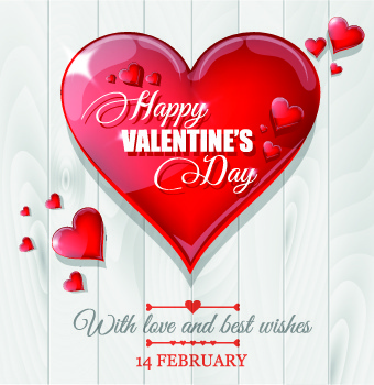 shiny red heart valentines background vector