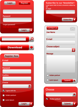 shiny red input boxes web vector