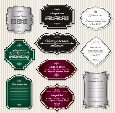 shiny retro frame labels design vector