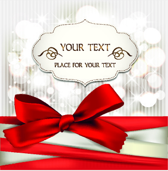 shiny ribbon holiday cards vector