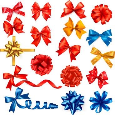 shiny ribbon with bow vector set