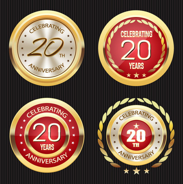 shiny round anniversary celebration medal sets
