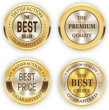 shiny round golden certification icons