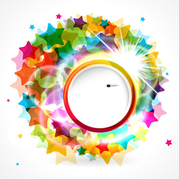 shiny round with colored stars background vector