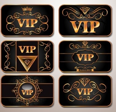 shiny royal vip cards design vector set