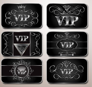 shiny royal vip cards design vector set