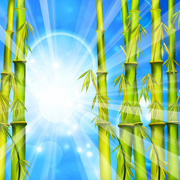 shiny spring bamboo vector background