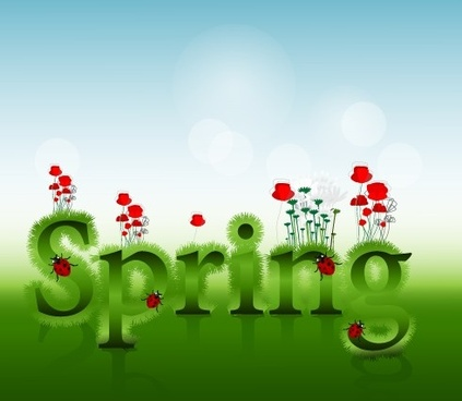 shiny spring elements vector background graphic
