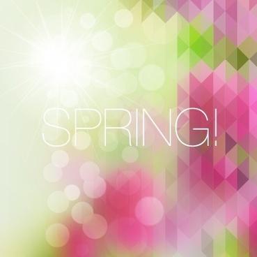 shiny spring elements vector background set