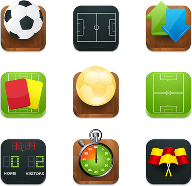 shiny square sport icons vector