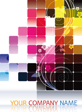 shiny squares with floral background vector