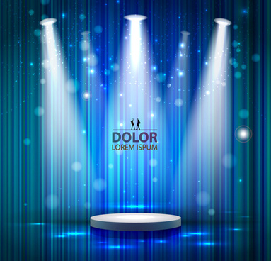 shiny stage spotlights design elements vector