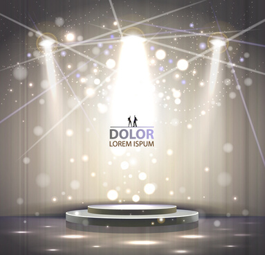 shiny stage spotlights design elements vector