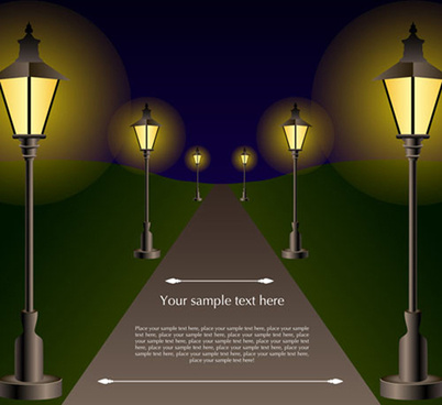 shiny street lamps background design vector set