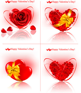 shiny valentine hearts vector cards