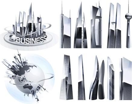 modern city sketch shiny grey decoration realistic style