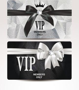 shiny vip card with ribbon bow vector