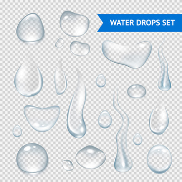 shiny water drops vector illustration set